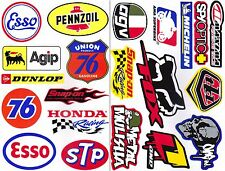 2SHEET ESSO PENNZOIL AGIP AUTO LUBE OIL STP HONDA RACING SNAP-ON STICKER DIE-CUT