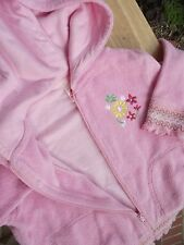 4T girls hooded fleece jacket pink Flapdoodles floral embroidery lined hood zipp