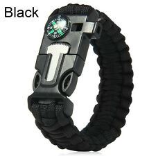Survival Bracelet Flint Fire Starter Paracord Whistle Cord Buckle Camping Rope