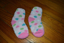 EUC Girls Fleece Fuzzy Socks Medium Pink Polka Dots