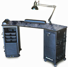 MANICURE NAIL TABLE K602 BLACK MARBLE LAMIN. TOP LOCKABLE CARTS  *SPECIAL SALE*