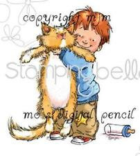 New Stamping Bella Cling Rubber Stamp TOLERANCE BOY & CAT FREE US SHIP