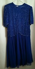 Brilliante By JA Purple Beaded Flowing Lined Mid Calf Dress Sz P/XL