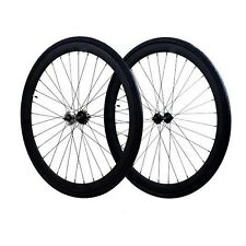 Fixie 700c Deep 45 mm Fixed  Front & Rear Wheels set  w Tire Tube Black