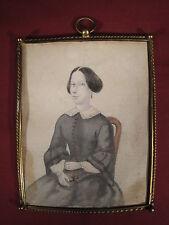 Antique Dessin Graphite Portrait Miniature Femme & Mode du XIX ème Cadre Laiton