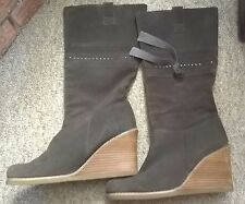 Dorothy Perkins Brown Suede Leather Wedge Platform Pullup Knee High Boots Size 5