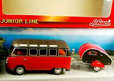 SCHUCO Junior 1:43 VOLKSWAGEN T1 SAMBA VW Transporter MINI BUS & TRAILER New Box