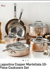 Lagostina Martellata Tri Ply Copper Hammered Stainless Steel 10 Piece Cookware