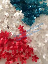 Sequins Flower 4th Of July Holiday Mix 10mm Pearl Red White Blue & Crystal White