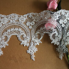 Bridal Lace Trimming Embroidered Trim Ribbon Wedding Floral Corded Edging 1 Yard