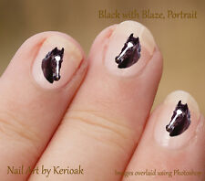 Horse, Black with blaze Portrait,  Set of  24 Nail Art Stickers Decals
