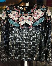 TRUE VINTAGE 1965 -1976  SEQUIN & BEADS  LONG SLEEVE  SWEE LO  SILK TOP SIZE L