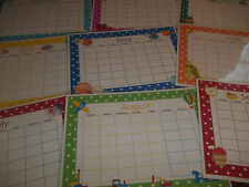 12 Laminated Themed Monthly Blank Calendars. Dry Erase Classroom Posters.