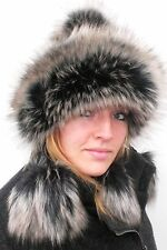 Ladies hat Tatra cap Pompom hat Faux fur in black/Grey-beige Knitted hats