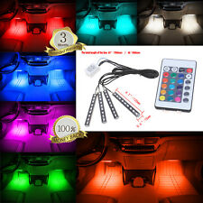4x 9LED Remote Control Colorful RGB Car Interior Floor Decorative Lights Strip #
