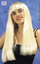 Lunga Parrucca Bionda Con Frangia Lady Gaga Pop Star Costume