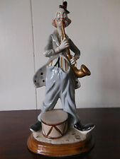 VINTAGE PORCELAIN FIGURINE CLOWN WITH SAXOPHONE MADE IN SPAIN
