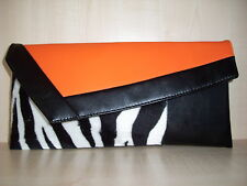 ORANGE, Black & Zebra Print Faux Leather & Velboa POCHETTE MADE IN UK.
