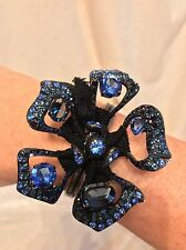 NEW IN BOX LANVIN PARIS Blue Crystal BAHIA FLOWER Bracelet Cuff, RARE!!