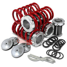 """CIVIC SCALE ADJUSTABLE 1""""-4"""" LOWERING SUSPENSION BLACK COILOVER COIL+RED SPRING"""