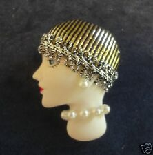 VINTAGE Flapper Girl Brooch Pin Porcelain Head Face w Pearl Earrings neckage