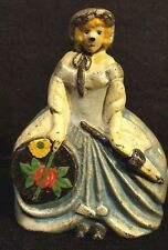 "Antique Cast Iron Doorstop~Woman with Hat Box and Parasol 6 1/2"" Tall x 5"" Wide"