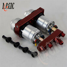2x 044 High Flow External Fuel Pump + Dual Bracket & Out Manifold AN6 RD