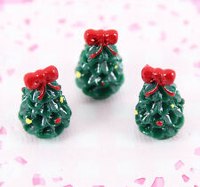 5 x Cute Miniature 3D Christmas Tree Cabochon Embellishment Kawaii Craft Decoden