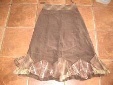 Ladies PER UNA brown micro cord knee length lined skirt 10 VGC no wear at all