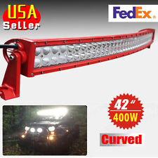 Red 400W 42inch Curved Spot Flood Combo LED Work Light Bar Car SUV ATV 4WD Jeep