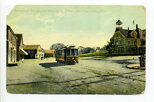 East Weymouth MA Mass Commercial Square, Washington School, trolley, early