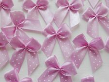100! Pretty Polka Dot Bows - Lovely Pale Pink Bow Embellishments For Cardmaking!