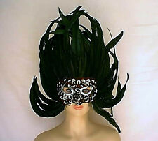 """Giant 18"""" Tall x 17.5"""" Wide Black Coque + Pheasant Feather Mask w/ Sequin Trim"""