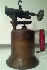 Vintage Antique  Turner Brass Blow Torch  Red Wooden Handle Sycamore Ill