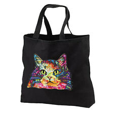 Artsy Neon Cat New Black Tote Bag Gifts Events Travel Shop Kitty Lovers