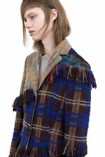 $1650 Acne Studios NWT Alexa Punk Fringes Patch Applique Check Mix Coat 38