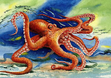 Octopus watercolor painting picture 8X10 Best Beach Decor art print Barry Singer