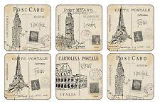 Pimpernel Postal Bocetos Posavasos Bebida Felpudos Set de 6 Londres París