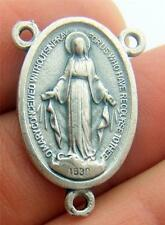 MRT Miraculous Mary Medal Rosary Part Oval Centerpiece Silver Plate Italy 3/4""