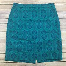 J.crew Pencil Skirt Size 10 Teal Green Blue Floral Print Career Fitted Bright
