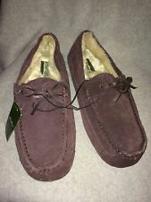 Men's Eddie Bauer Brown Suede Leather Faux Fur Lined Indoor Outdoor Slippers, 13