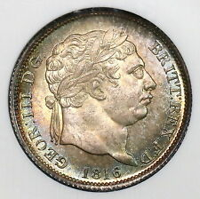 1816 NGC MS 65 George III Silver Shilling Great Britain TONED Coin (16053001D)