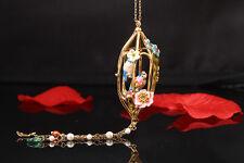 Collier Doré Sautoir Email Bleu Rose Couple de Mesanges Cage Fleur Retro L3