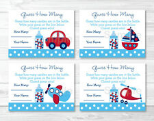 """Around The Town Transport Printable Baby Shower """"Guess How Many?"""" Game Cards"""