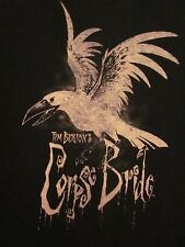 Corpse Bride goth T shirt med Tim Burton stop-motion Crow in Flight creepy tee