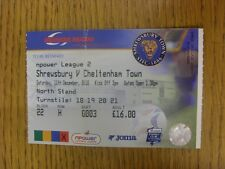 11/12/2010 Ticket: Shrewsbury Town v Cheltenham Town  (folded). Thanks for viewi