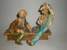 Vintage Shabby Chic Handcrafted Two Old Men Playing Checkers Figurine Ships Free