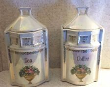 Pair Antique White Block Germany Lusterware Canisters COFFEE TEA Rose Bouquet