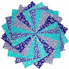 "50 4"" Quilting Fabric Squares Cool Breeze/Shades of Purple and Blue/3 Gorgeous!!"