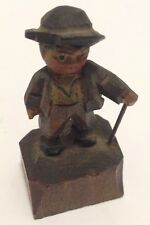 ANTIQUE SMALL WOODEN CARVED MAN W/ CANE FIGURINE #61616